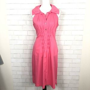 TAHARI Bright Pink Oversized collar shirtdress 10